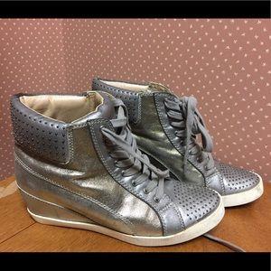 Splendid high top sneaker wedge pewter metallic